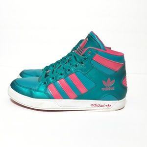 Adidas Hightop Pink and Teal Sneakers Size 8
